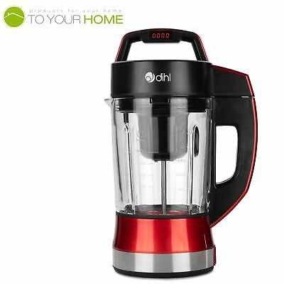 Dihl Red Digital Soup and Smoothie Maker Blender 900W 1.75L with Glass Jar