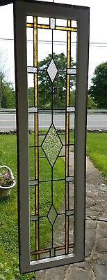 Fabulous Antique Stained Leaded And Cut Glass Transom Window