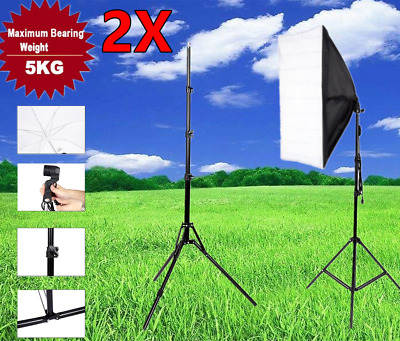 2x 7ft Light Stand Tripod Photography Lighting Studio Boom Umbrella Softbox US