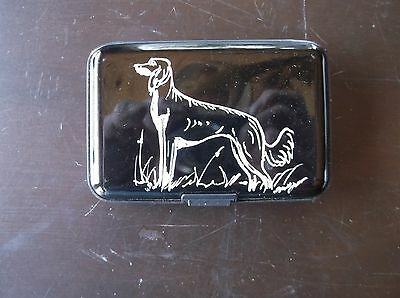 Saluki- Hand engraved Stainless Credit Card Wallet by Ingrid Jonsson