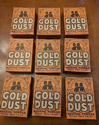 Lot of 9, Vintage Antique 'GOLD DUST' Washing Powder Soap Box With Soap, 5oz