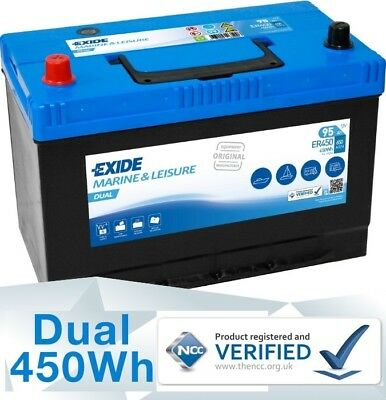 12V 95AH (90AH 100AH 105AH) EXIDE ER450 Ultra Deep Cycle Leisure Marine Battery