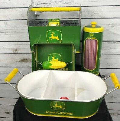 John Deere metal picnic 4 pc set tin napkin straw utensil holder 3 part divider