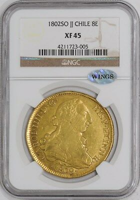 1802 SO JJ Chile 8 Escudos #934541-4 XF45 NGC ~ WINGS