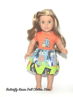 Halloween Mixed Media Handmade Skirt 18 in Doll Clothes Fit American Girl  #A