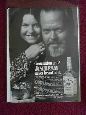 1972 Print Ad Jim Beam Bourbon Whiskey ~ Orson Welles & Daughter Generation Gap