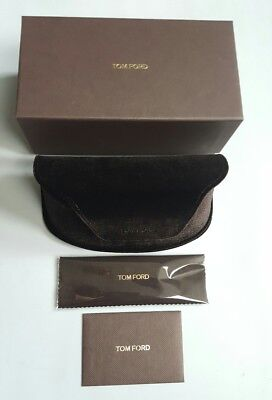 TOM FORD LARGE BROWN VELVET SUNGLASS CASE w BOX WARRANTY CARD & CLEANING CLOTH