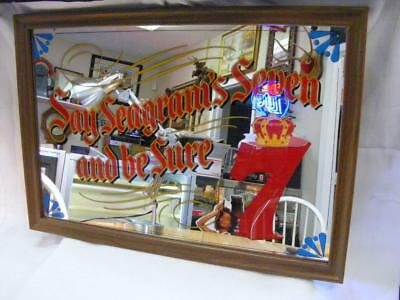 """Vintage Seagram's 7 Mirror """"Say Seagram's Seven And Be Sure"""" 26"""" X 18"""""""