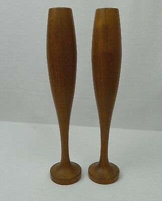 Pair of Teak Candlesticks Mid Century Modern Bulbous Form
