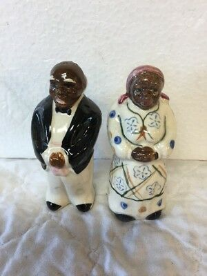 Vintage Made Japan Salt & Pepper Set Black Americana Aunt Jemima Mammy Uncle Ben