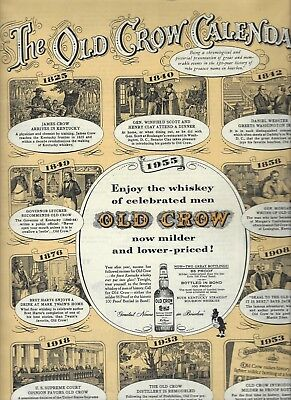 OLD CROW Whiskey Ad CALENDAR 1825-1953  Memorable Events Print Ad 10 x 13 3/4