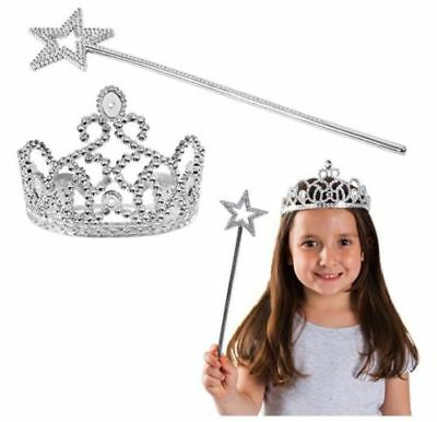 Fairy Princess Crown and Star Wand Set Dress Up Girl Party Favors Costumes