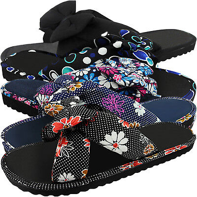 New Women Ladies Light Flat Slip On Fabric Mules Summer Sandals Flip Flops Size