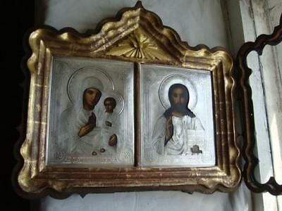 Antique icon 19 century, 100% original Wedding couple + silver 84 (1888 years)