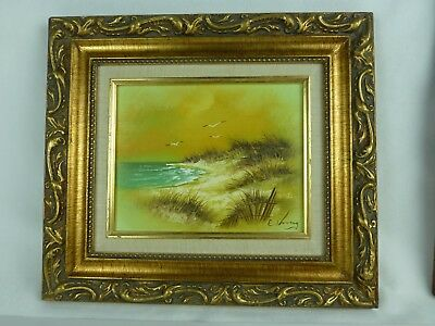 "Sand and Sea E. King Oil Painting Signed Framed 7"" x 9"" COA Registered"