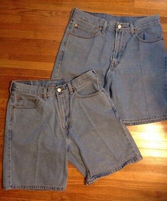 """Lot Of 2 Levis 550 Mens Jean Shorts Sz 34 Light Wash 8"""" Relaxed Fit (RJ1)"""