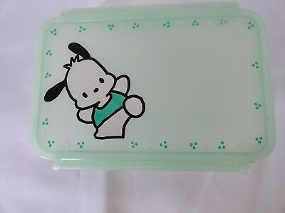 """vintage sanrio pochacco food container small lunch box 6.5"""" x 4.75"""" x 2.5"""""""