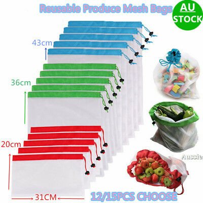 12/15 PCS Reusable Produce Mesh Bags Washable Vegetable Fruit Toy Storage Pouch