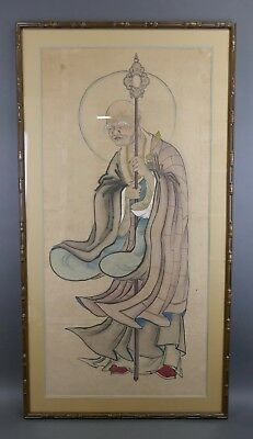 Vintage 19th Century JAPANESE TEMPLE PAINTING Watercolor On Silk Buddhist Large