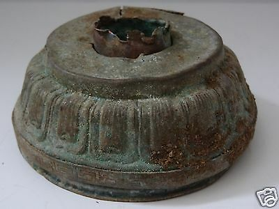 Antique  Mongolian Buddhist Hand Hammered Copper  Statue Base Padma