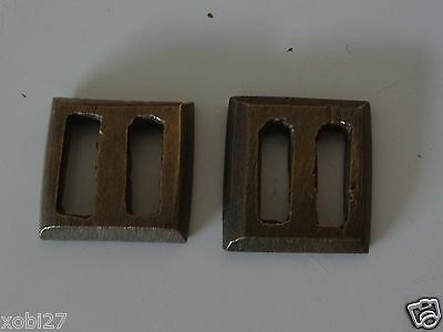 Antique Tibetan Buddhist Cast Brass Pair Of Plain  Manuscript Wrapper Buckle