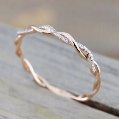 Women Fashion 14K Solid Rose Gold Stack Twisted Ring Wedding Party Jewelry Gift