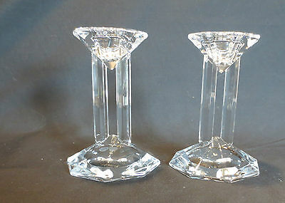 "Pair Of Lenox Ovations Crystal ""synchronicity"" 4 3/4"" Candle Holders"