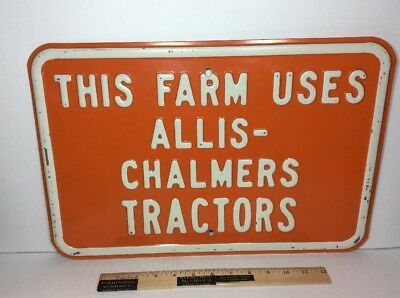 Orange Allis Chalmers Embossed Metal Sign Tractor Gas Oil Engine Wc Milwaukee Wi