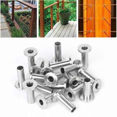 """20 & 100 PC Stainless Steel Protector Sleeve for 1/8"""" & 3/16"""" Cable Railing"""