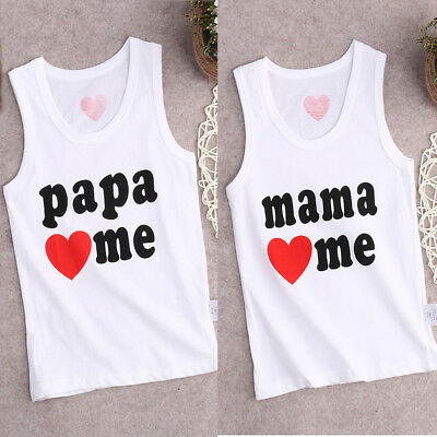 Baby Boys Girls Kids Summer Tops Cotton Vest Tank T shirt Outfit Clothes Tee