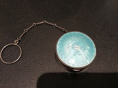 Antique Sterling Silver & Enamel Ladies Powder Mirrior Compact Chatelaine No Res