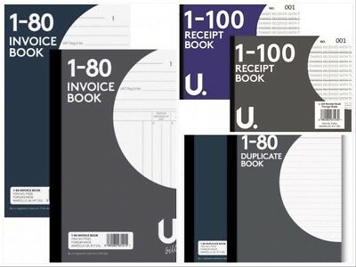 Invoice, Duplicate,  Receipt Book Pad Numbered 1-80,1-100 Page + Carbon Copy 2
