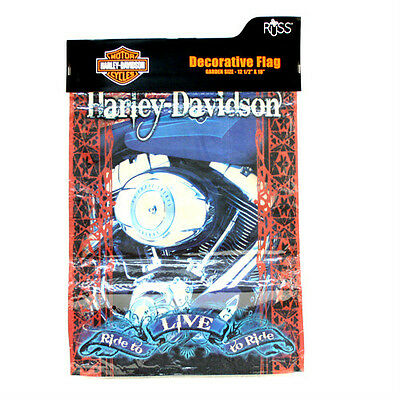 Harley Davidson 12x18 Live to Ride Blue Engine Garden Flag TOTAL CLOSEOUT