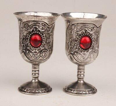 2 China Tibet silver cup goblet retro inlaid ruby collection