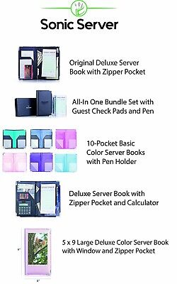 Sonic Server Book Deluxe and Waiter Waitress Organizer with Calculator Built-in