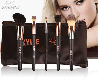 New Make Up Brush Set With Bag 5 Piece Sale Uk Limited Time Only