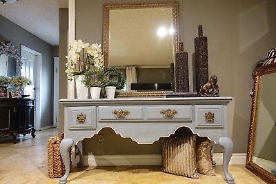 Gray Wash Entry Table w/ Gold Drawer Pulls and Matching Gold Mirror Set
