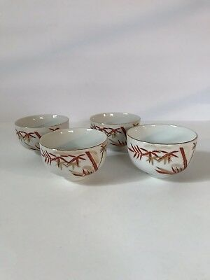 Japanese Sake Cups 4 Handpainted Bamboo White Teacups Gold Rim Tea Set Japan