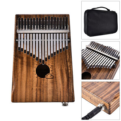 Muspor 17 Keys EQ Kalimba Solid Acacia Thumb Piano Electric Pickup w/ Bag Cable