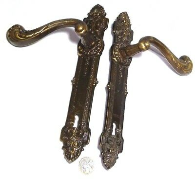 Pair Heavy Vintage Brass Door Lever Handles Rococo Design With Large Backplates