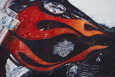 """Harley-Davidson Wall Poster Collectible Art """"Wide Glide Flames"""" #105 Hintz 24X36"""