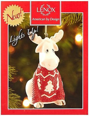 Lenox Christmas Sweater Moose Lighted Ornament New in Box