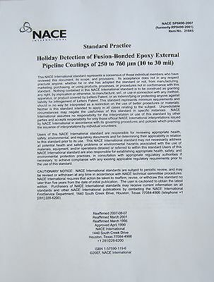 National Assoc. of Corrosion Engineers Testing SPO0490 Holiday Detection Book