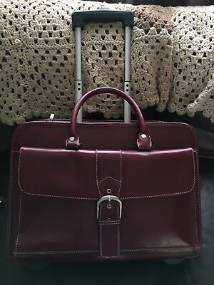 Franklin Covey Deep Red Leather Wheeled Laptop Case Rolling Comp Bag Briefcase