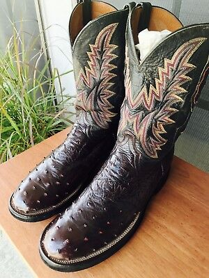 7371d8dd3f9 LUCCHESE 2000 FULL Quill Ostrich / Leather Men's Western Boots Burgundy  10.5D