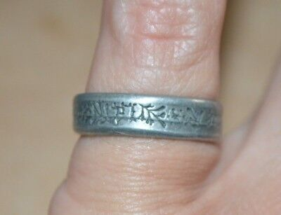Pewter/silver ring with Chinese symbols, size M