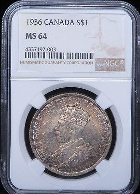 1936 Canada Dollar Silver $1 NGC MS64 Toned Nice Color