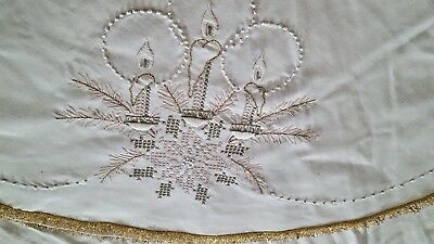 Holiday white gold cross stitch embroidered linen tablecloth tree skirt round