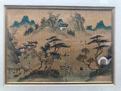 Fine Old Antique Chinese Painting Mountain Landscape Figures Art Framed NICE NR