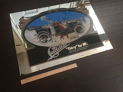 LARGE Vintage Thirty for 1911 CADILLAC Mirror Display Auto Advertising Ad NICE